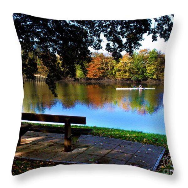 Rowing The Itchen In Autumn Throw Pillow by Terri  Waters
