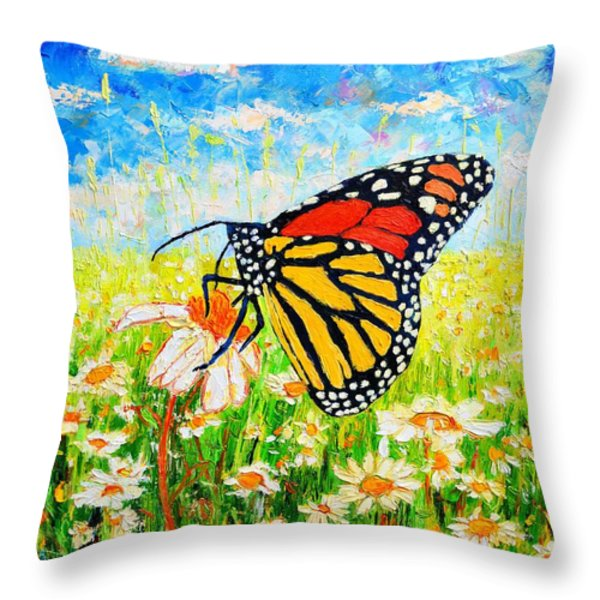 Royal Monarch Butterfly In Daisies Throw Pillow by Ana Maria Edulescu