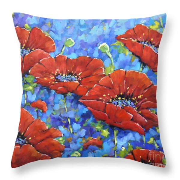 Royal Poppies By Prankearts Throw Pillow by Richard T Pranke