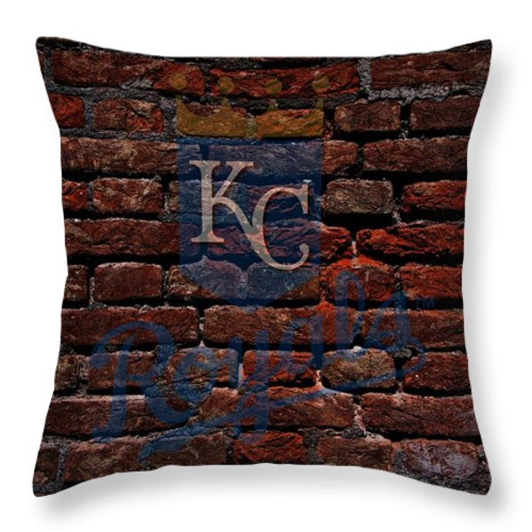 Royals Baseball Graffiti on Brick  Throw Pillow by Movie Poster Prints