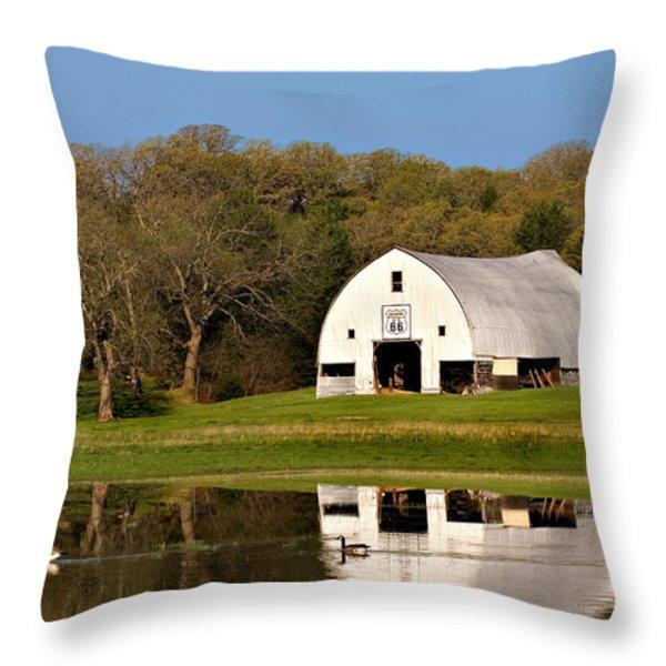 Rt 66 Hay Farm Oklahoma Throw Pillow by T Lowry Wilson