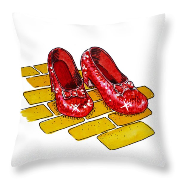 Ruby Slippers The Wizard Of Oz  Throw Pillow by Irina Sztukowski