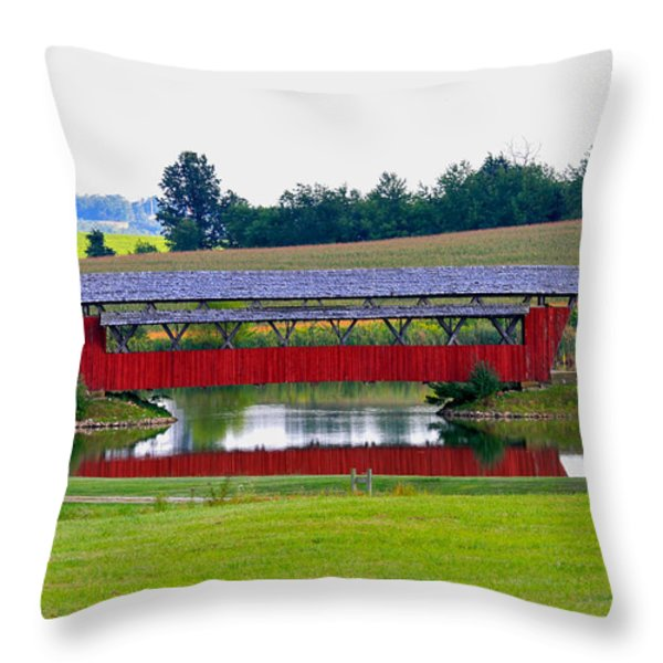 Ruffner Covered Bridge Throw Pillow by Jack R Perry
