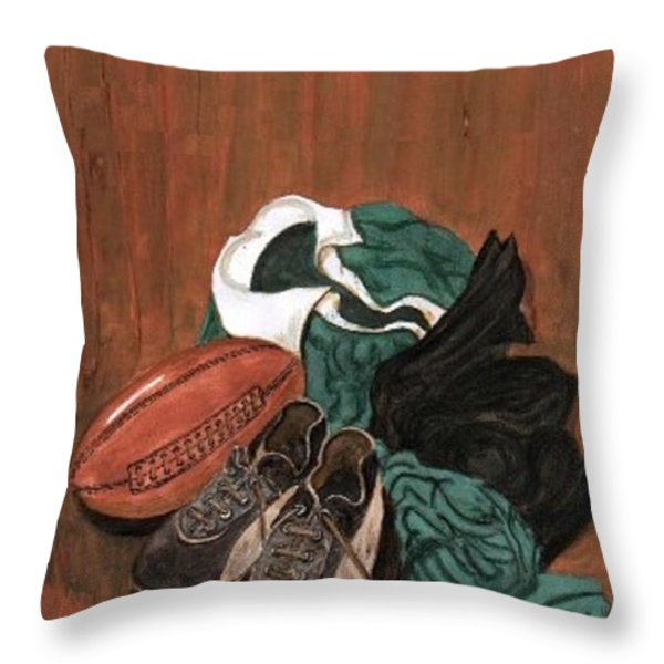 Rugby Throw Pillow by Sam Mart