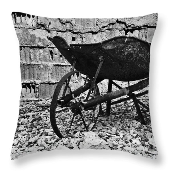 Run-down Wheelbarrow Throw Pillow by Christine Till