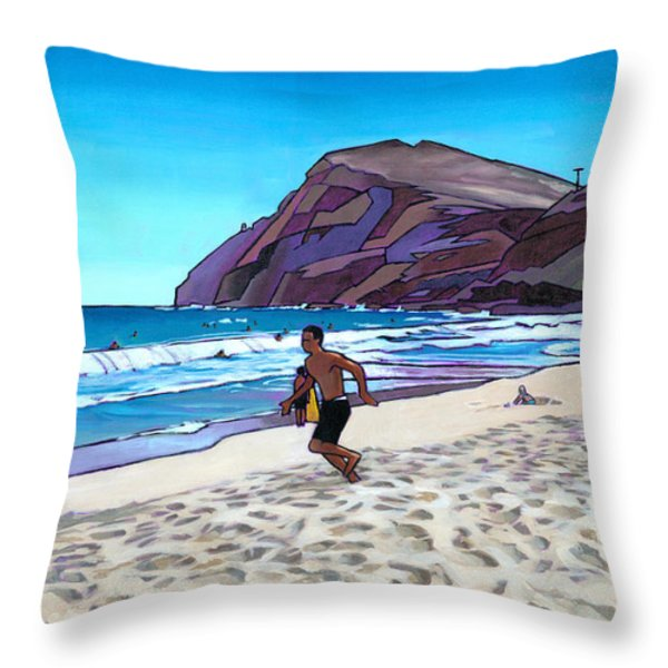 Running at Makapuu Throw Pillow by Douglas Simonson