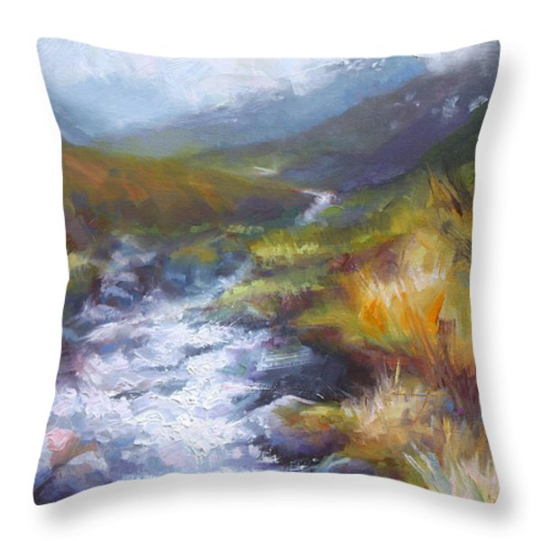 Running Down - Landscape View From Hatcher Pass Throw Pillow by Talya Johnson