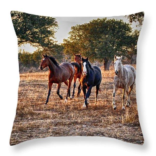 Running Horses Throw Pillow by Kristina Deane