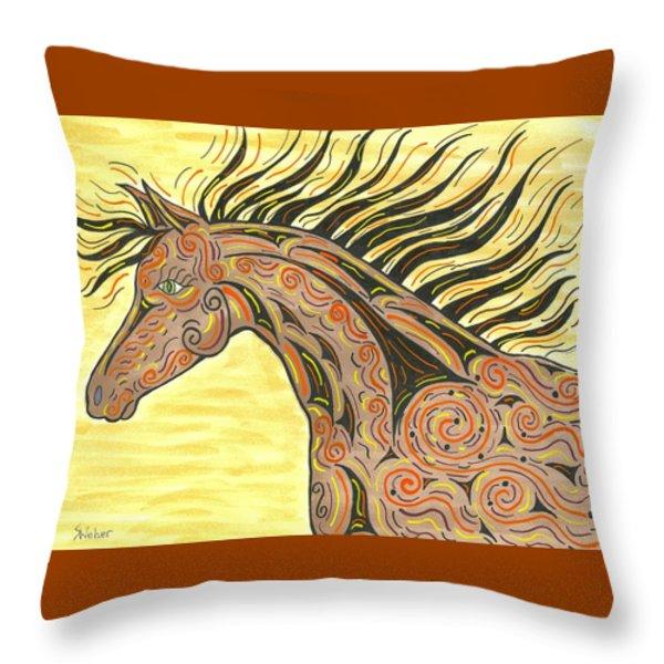 Running Wild Horse Throw Pillow by Susie WEBER