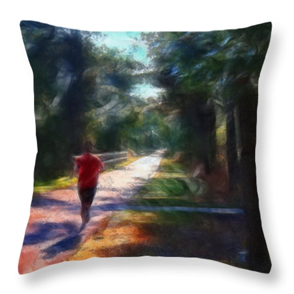 Running Throw Pillow by William Sargent