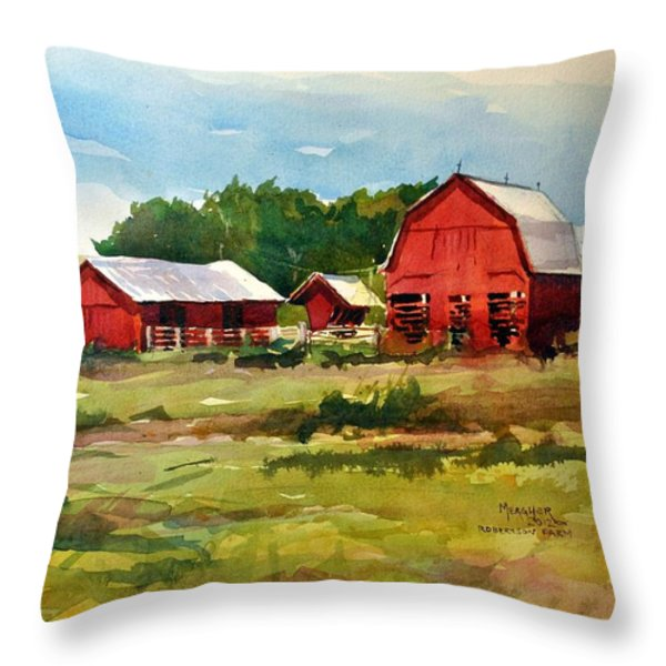 Rural Barns Throw Pillow by Spencer Meagher