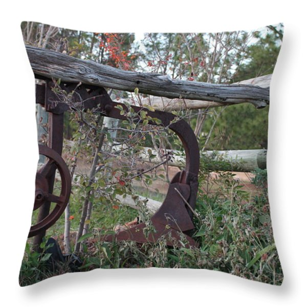 Rural Fence Post Throw Pillow by Lorri Crossno