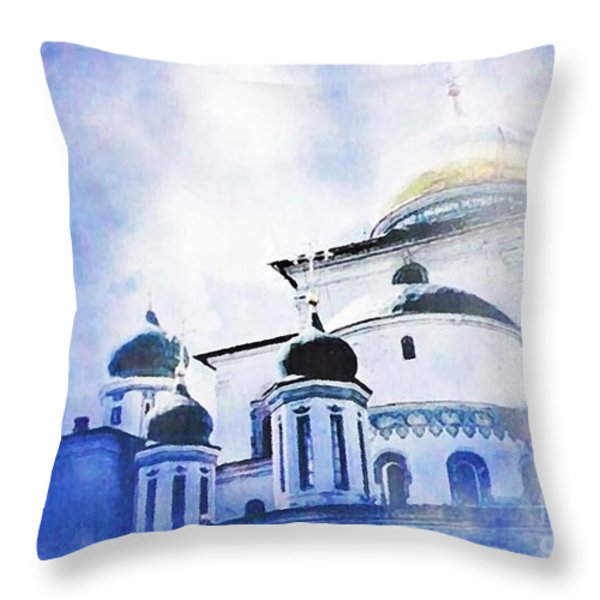 Russian Church In A Blue Cloud Throw Pillow by Sarah Loft