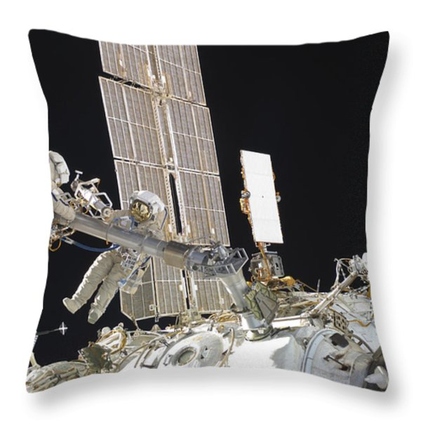 Russian Cosmonauts Working Throw Pillow by Stocktrek Images