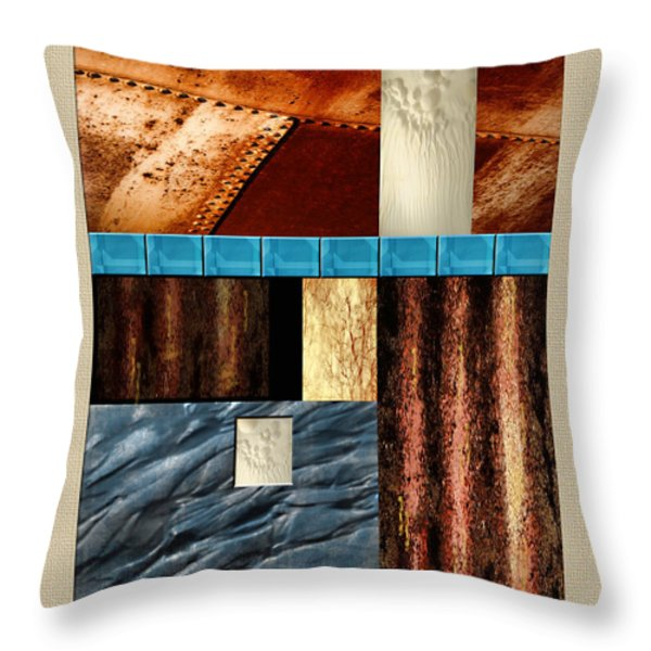 Rust And Rocks Rectangles Throw Pillow by Elaine Plesser