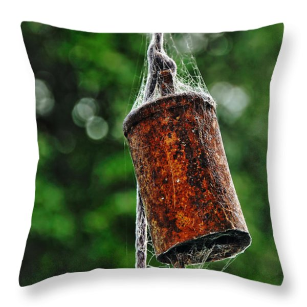 Rusted Old Cowbell Throw Pillow by Kaye Menner