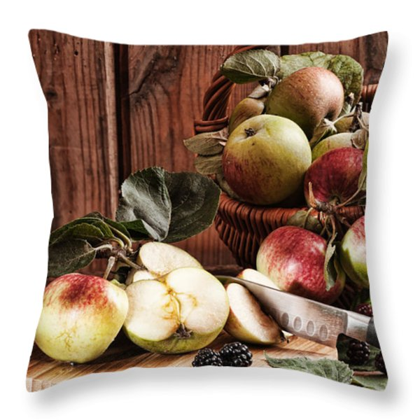 Rustic Apples Throw Pillow by Amanda And Christopher Elwell