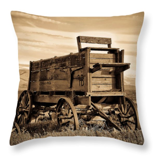 Rustic Covered Wagon Throw Pillow by Athena Mckinzie