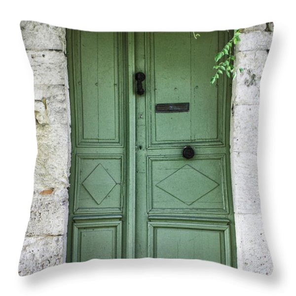 Rustic Green Door With Vines Throw Pillow by Georgia Fowler