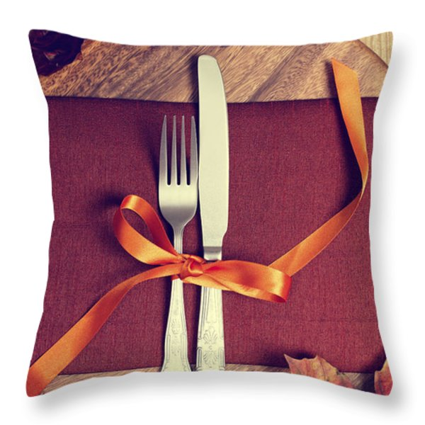 Rustic Table Setting For Autumn Throw Pillow by Amanda And Christopher Elwell