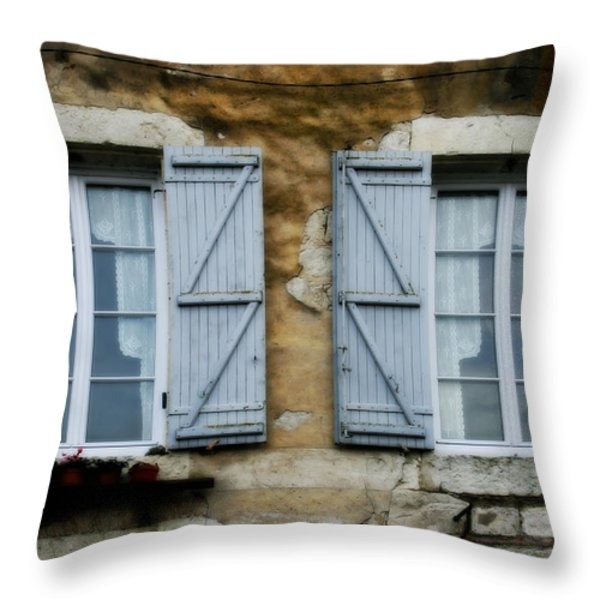 Rustic Wooden Window Shutters Throw Pillow by Nomad Art And  Design