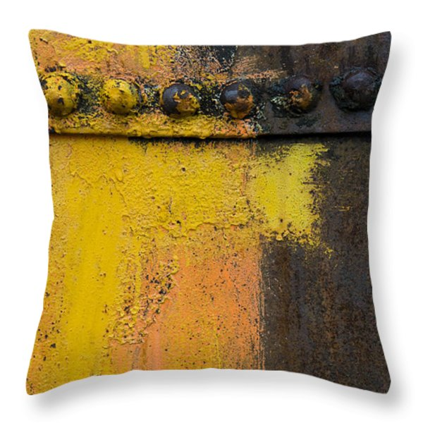 Rusting Machinery Throw Pillow by John Shaw