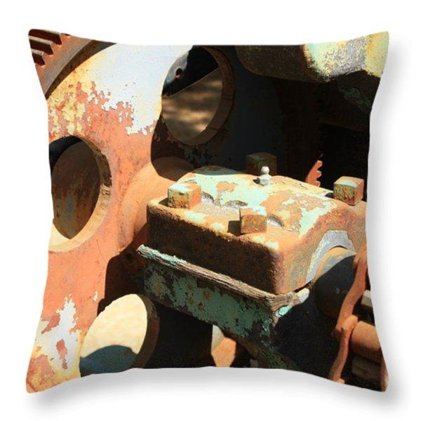 Rusty Wheel Gear Throw Pillow by Carol Groenen