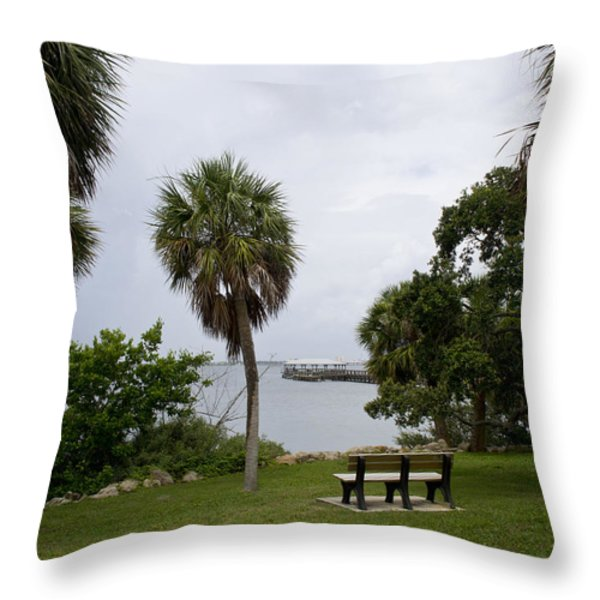 Ryckman Park in Melbourne Beach Florida Throw Pillow by Allan  Hughes