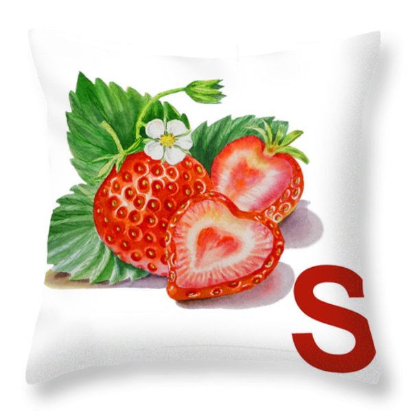 S Art Alphabet For Kids Room Throw Pillow by Irina Sztukowski