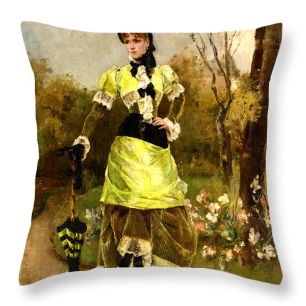 Sa Majeste La Parisienne Throw Pillow by Alfred Stevens