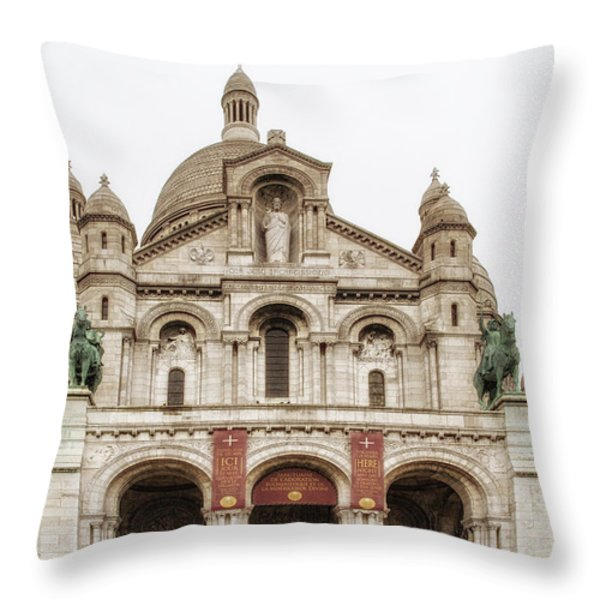 Sacre Coeur  Throw Pillow by Nomad Art And  Design