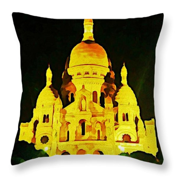 Sacre-coure Cathedral Paris Throw Pillow by John Malone