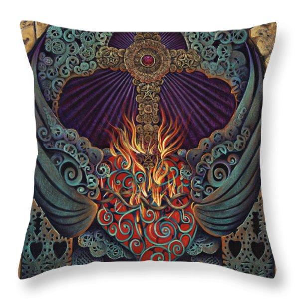Sacred Heart Throw Pillow by Ricardo Chavez-Mendez