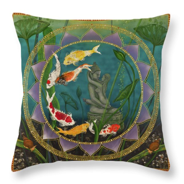 Sacred Pond Throw Pillow by Nadean OBrien