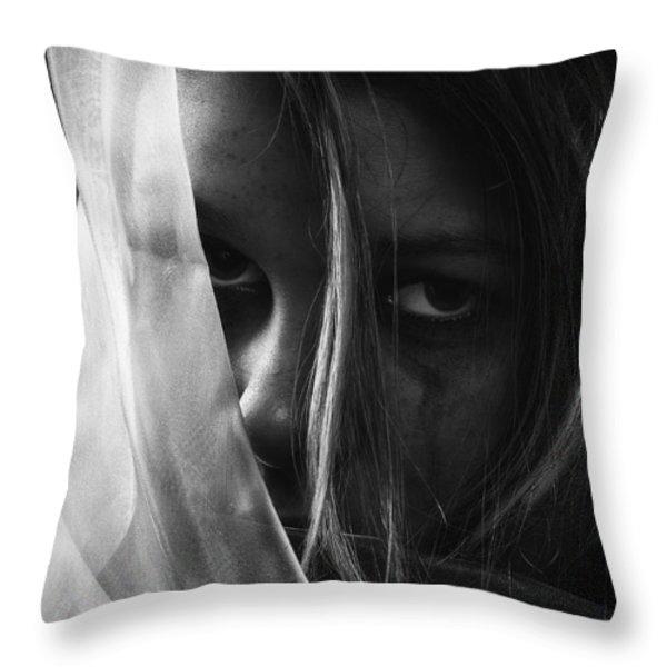 Sad Girl BW Throw Pillow by Erik Brede