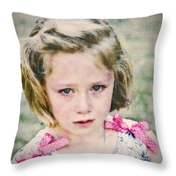 Sad Girl Digital Art Throw Pillow by Susan Leggett