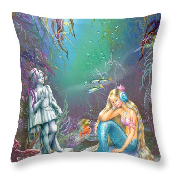 Sad Little Mermaid Throw Pillow by Zorina Baldescu
