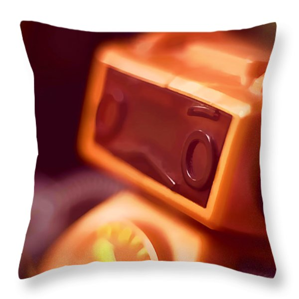 Sad Little Robot Throw Pillow by Scott Norris