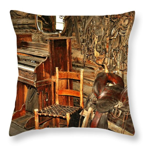 Saddle and Piano Throw Pillow by Marty Koch