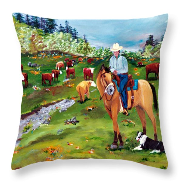 Saddle Pals Throw Pillow by Gail Daley