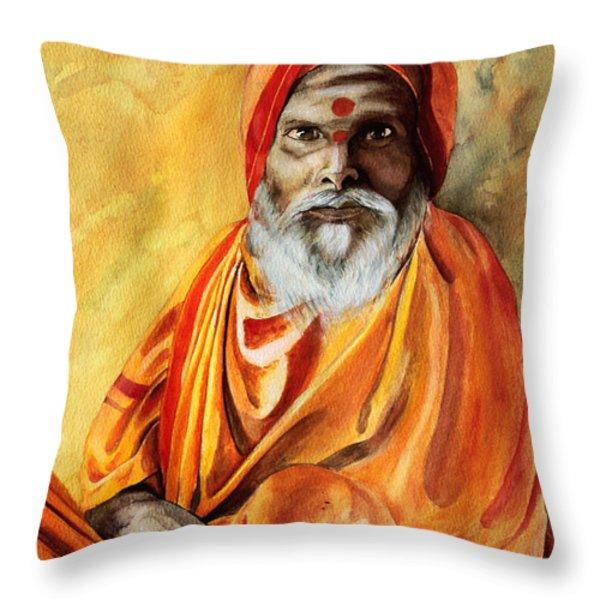 Sadhu Throw Pillow by Janet Pancho Gupta