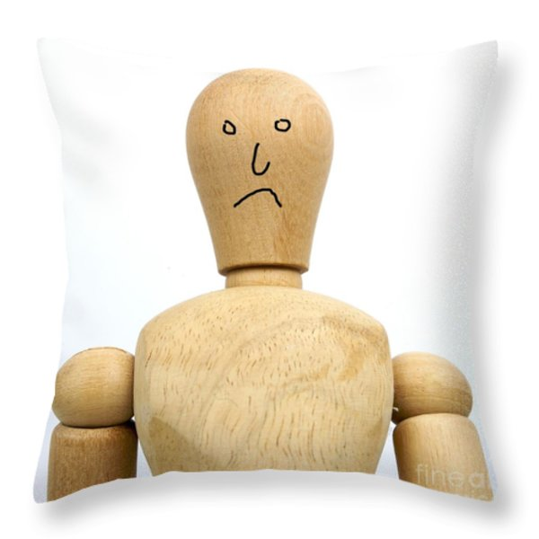 Sadness wooden figurine Throw Pillow by BERNARD JAUBERT