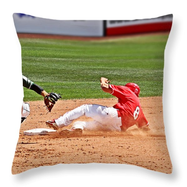 Safe at second Throw Pillow by Bob Hislop