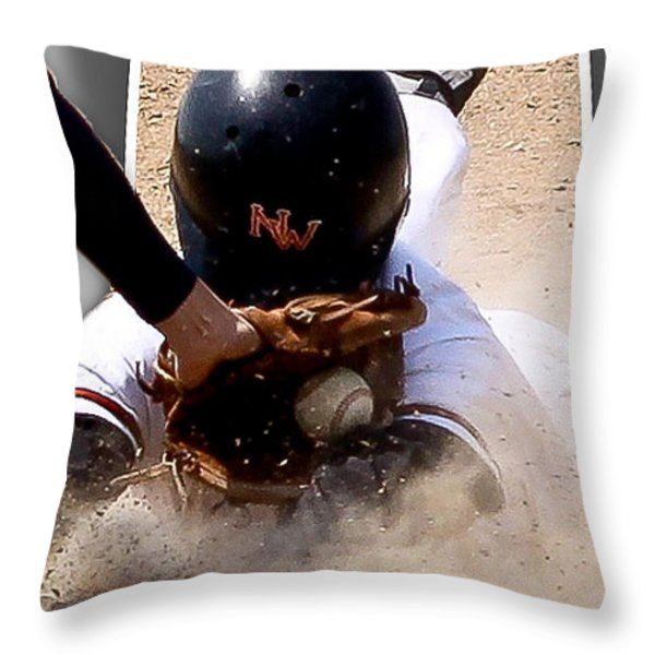 Safe at Third Throw Pillow by Jim Finch
