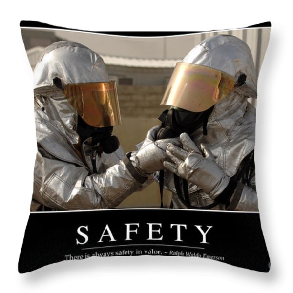 Safety Inspirational Quote Throw Pillow by Stocktrek Images