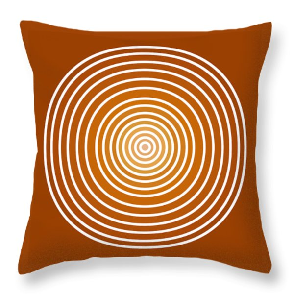 Saffron Colored Abstract Circles Throw Pillow by Frank Tschakert