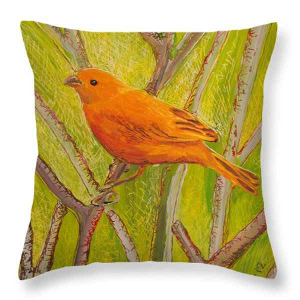 Saffron Finch Throw Pillow by Anna Skaradzinska