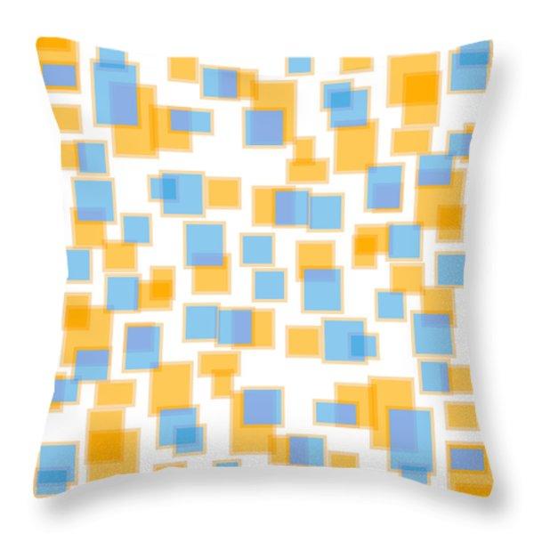 Saffron Yellow And Azure Blue Throw Pillow by Frank Tschakert