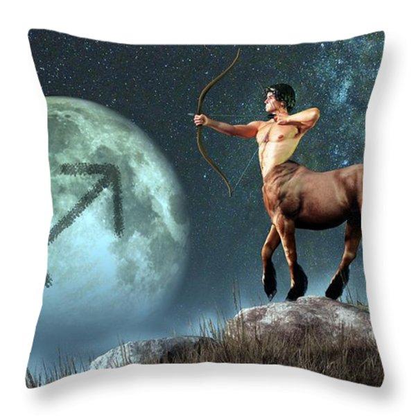 Sagittarius Zodiac Symbol Throw Pillow by Daniel Eskridge