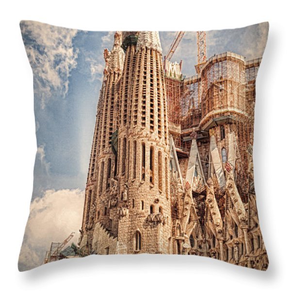 Sagrada Familia Throw Pillow by Erik Brede